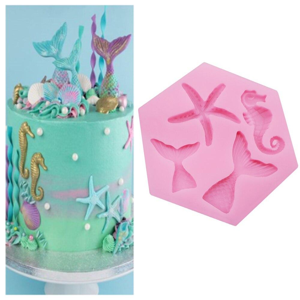 Mini sereia cauda starfish silicone molde fondant chocolate bolo ferramenta de decoração diy artesanal argila resina sabão cozimento molde m2797