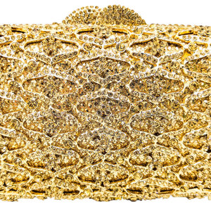 Image 5 - Boutique De FGG Hollow Out Women Gold Evening Bags Crystal Clutch Handbags and Purses Wedding Gala Dinner Ladies Minaudiere Bag