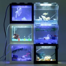 Fish-Tank Table-Decoration-Accessories Led-Lamp-Light Mini Aquarium Desktop Home Office