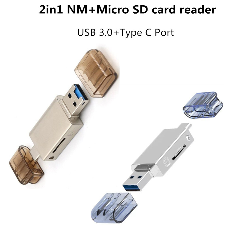 2in1 Metal High Speed USB 3.0 Type C To Micro SD TF Memory Card Reader For Huawei NM Nano Card For Mobile Phone PC Laptop Tablet