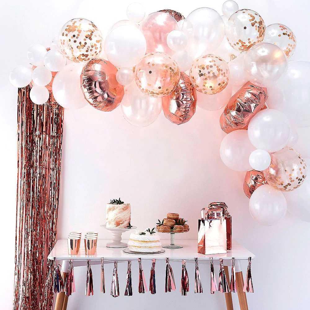 16pcs Ouro Rosa Confetti Balão Balão De Hélio Balões Do Chuveiro de Bebê Menina DIY Amor Bolas de Festa de Casamento Decoração de Balões De Aniversário