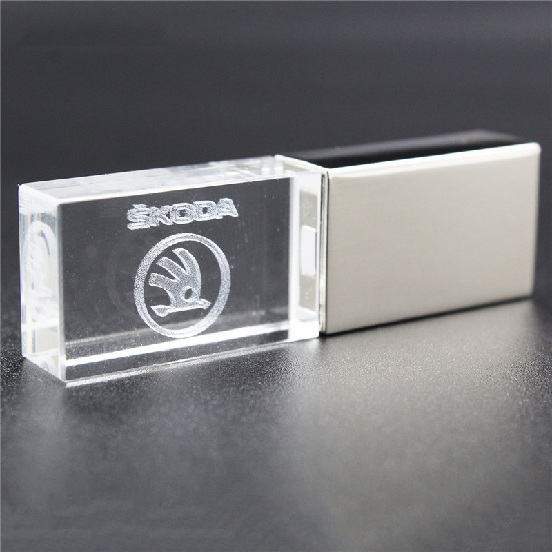 USB2.0 O S Koda Car Key  Metal + Glass Model Pendrive Usb2.0 4GB 8GB 16GB 32GB Pen Drive USB Flash Drive Gift Pendrive