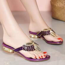Summer Sandals Slippers Rhinestone Heel-Shoes Low-Heel Open-Toe Plus-Size Fashion Ladies