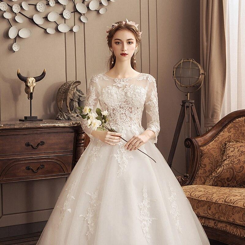 White Wedding Dresses 2020 Lace Luxury Bridal Ball Gowns Llusion Chapel Train Lace-up Wedding Dresses Vestido De Noiva