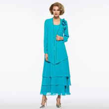 Tanpell Elegant Evening Dress Scoop Neck Long Sleeves Tiered Chiffon Ankle-Length Woman Party Gown Evening Dress 2019 все цены