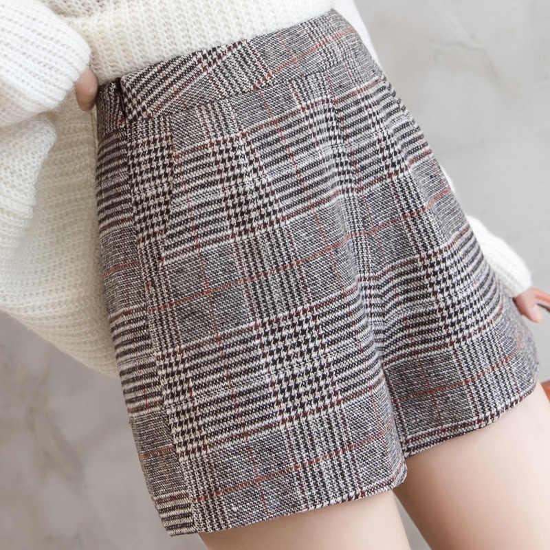 S-2xl jesień wełny koreański spodenki kobiet 2019 wiosna szczupła Patchwork szorty z wysokim stanem dla kobiet zimowe ciepłe spodenki kobiety