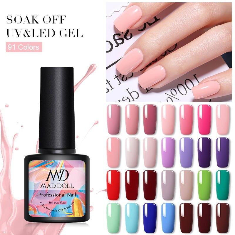 MAD DOLL 8ml 60 Colors Pure Nail Colors Gel Nail Polish Soak Off UV Lamp Paint Gel Varnish Semi Permanent Nail Glue Gel Lacquer