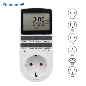Electronic Digital Timer Switch EU US FR BR Plug Kitchen Timer Outlet 230V 110V 7 Day 12/24 Hour Programmable Timing Socket(China)