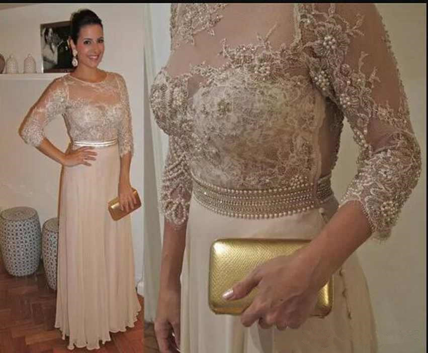 Charming Robe De Soiree Mother Of The Bride Dresses 3/4 Long Sleeves Beads Sash Custom Appliques Chiffon Fashion Evening Gown