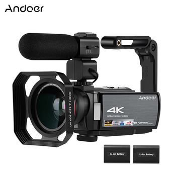 Andoer 4K WiFi DV Recorder Digital Video Camera Camcorder 30MP 16X Digital Zoom with Batteries Wide Angle Lens Microphone 1