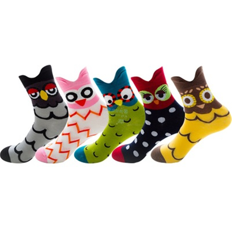 Grey Owl, Pink Owl, Green Owl, Black Owl, Yellow Owl, Men's And Women's Cotton Tube Socks ZQ021