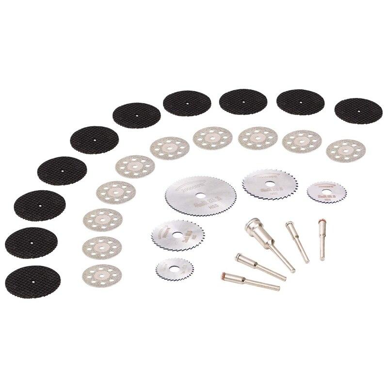30Pcs Cutting Wheel Set For Rotary Tool 1/8 Inch Shank Diamond Cutting Wheel, Mini HSS Saw Blades, Resin Cut Off Disc Combo Cutt