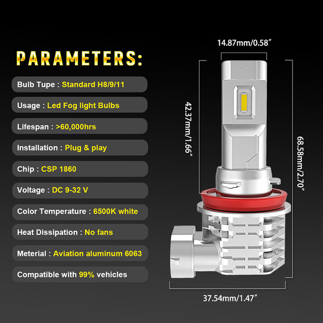 2pcs H11 H8 Led Fog Lights 9005 HB3 9006 HB4 H4 H7 H3 Led headlights For Nissan Qashqai Almera Juke Suzuki Grand Vitara Swift