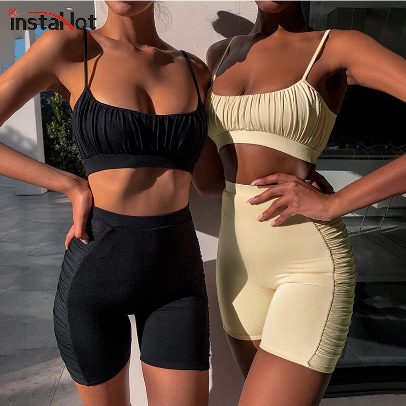 InstaHot Sexy Spaghetti Strap Cami Hot Shorts 2 Pieces Set Summer Women Skinny Fitness Casual Ruched Top Female Two Piece Outfit