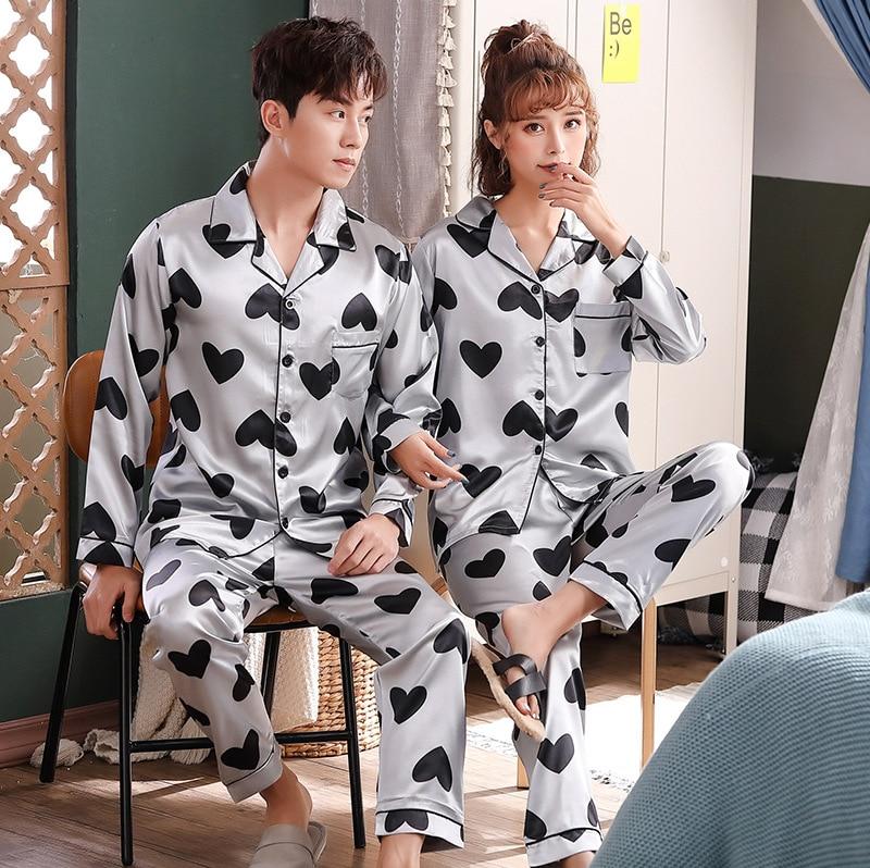 2020 Imitated Silk Fabric Couples Long Sleeve Cardigan Suit Women's M -X L Men's L -Xx L [Video] 8981
