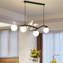 Nordic dining room pendant light 4 head wrought iron resin bird creative long glass hanging lamp for kitchen bar indoor lighting