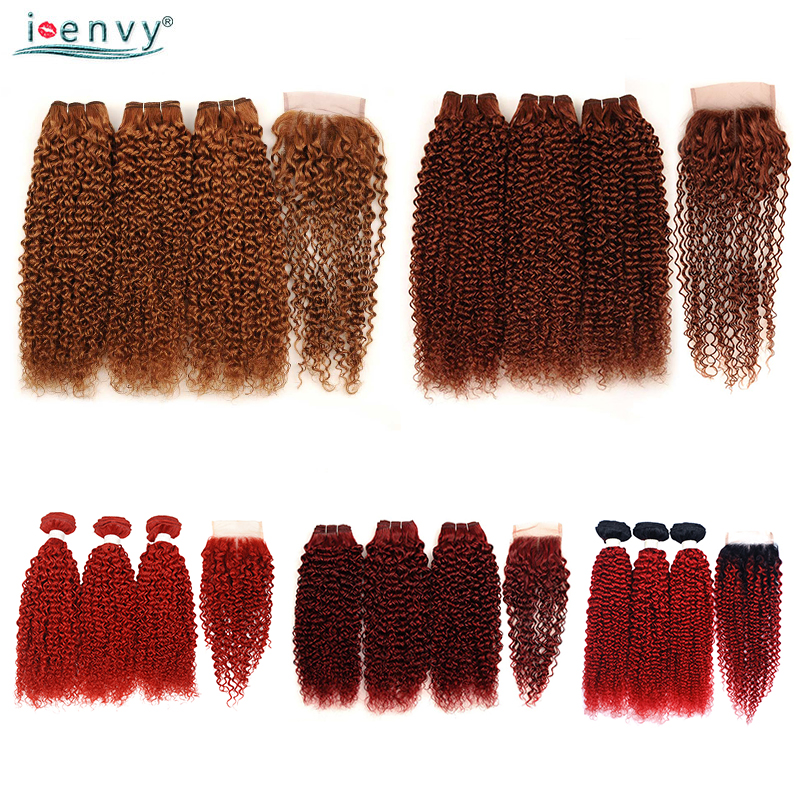 Blonde Bundles With Closure Brazilian Ombre 99J Kinky Curly Hair Bundles With Closure Colored Brown Human Hair Bundles Non-Remy