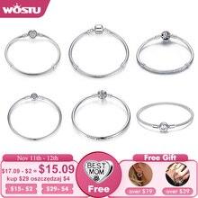 Wostu Luxe Originele 100% 925 Sterling Silver Snake Chain Armband Voor Vrouwen Authentieke Charme Sieraden Pulseira Gift