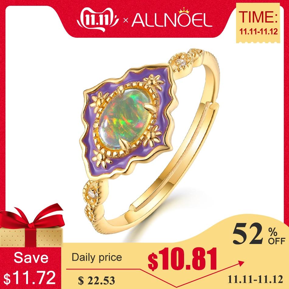 ALLNOEL Silver 925 Jewelry Gemstone Rings  For Women Vintage Real Natural Fire Opal Enamel Rainbow Ring Wedding Luxury  Brand