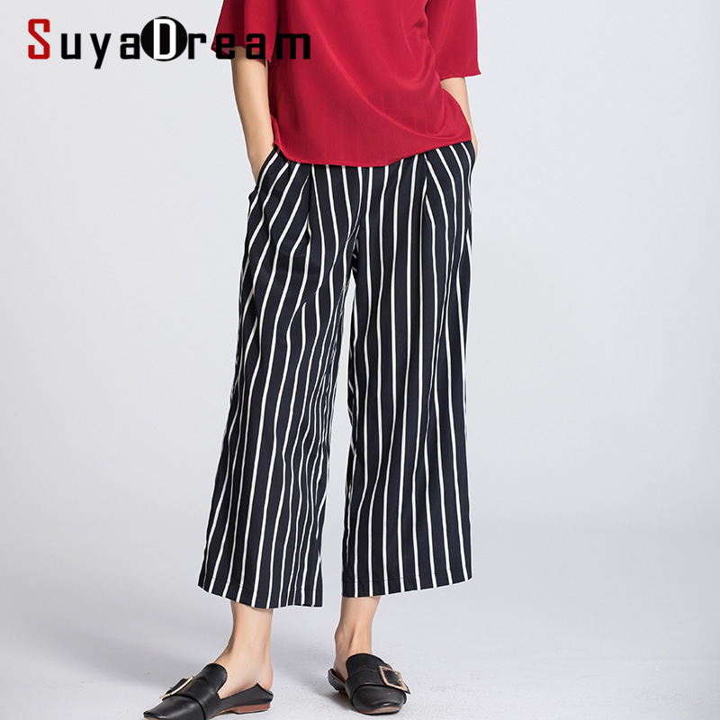 SUYADREAM Women Pants 100%Real Silk Crepe Striped High Waisted Pants OL Ankle-Length Pants 2020 Office Lady Spring Summer New
