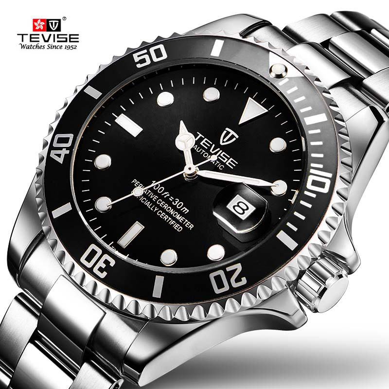 Drop Shipping Tevise Top Brand Men Mechanical Watch Automatic Fashion Luxury Stainless Steel Male Clock Relogio Masculino 2020