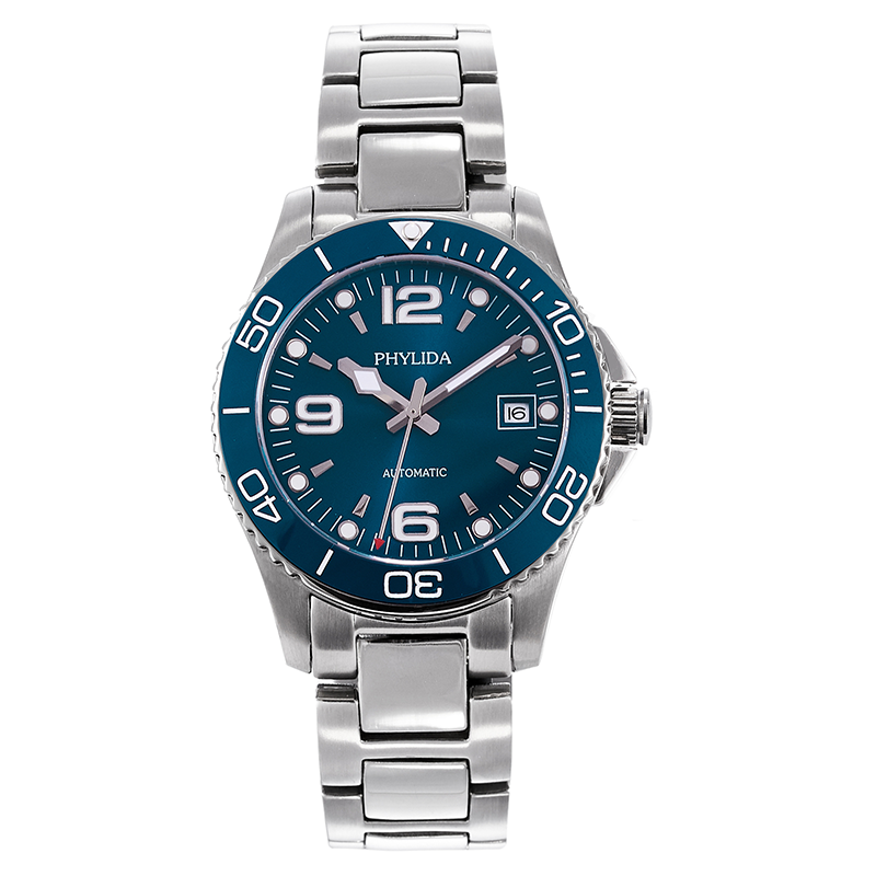40mm Sport Diver Watch Blue Japan Miyota Automatic New Conquest Style Luminous Sapphire Crystal Phylida