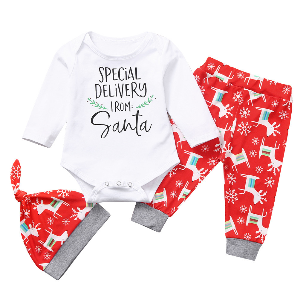 Little Boys Girls Cute Deer Letter Christmas Long Sleeve T-Shirt Lattice Trousers Pant Sets