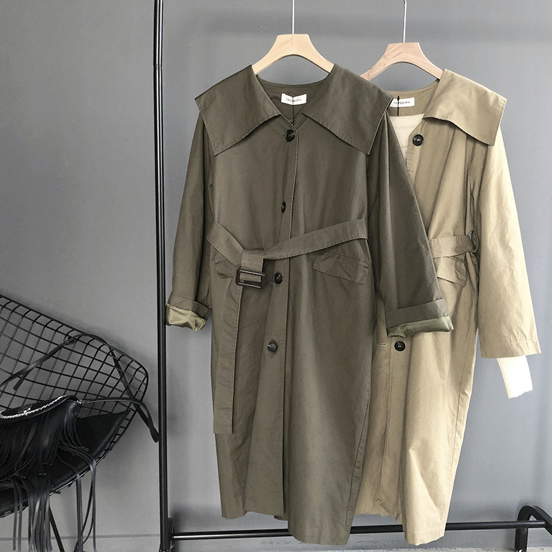 Mooirue Spring Femme Khaki   Trench   Coat With Belt Single Breasted Vintage Harajuku Green Cardigan Feminine Overcoat