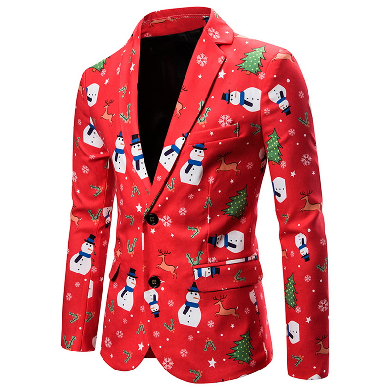 2019 New Men's Fashion Suit Party Coat Casual Slim Fit Blazer Buttons Suit 3D Christmas Floral Print Painting Blazers Jacket Men