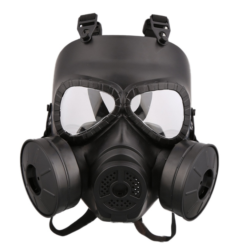 Anti COVID-19 Virus Mask Full-covered Gas Mask Helmet Unisex PC Lens Adjustable Shock Resistance Sportswear For CS With Fans 1