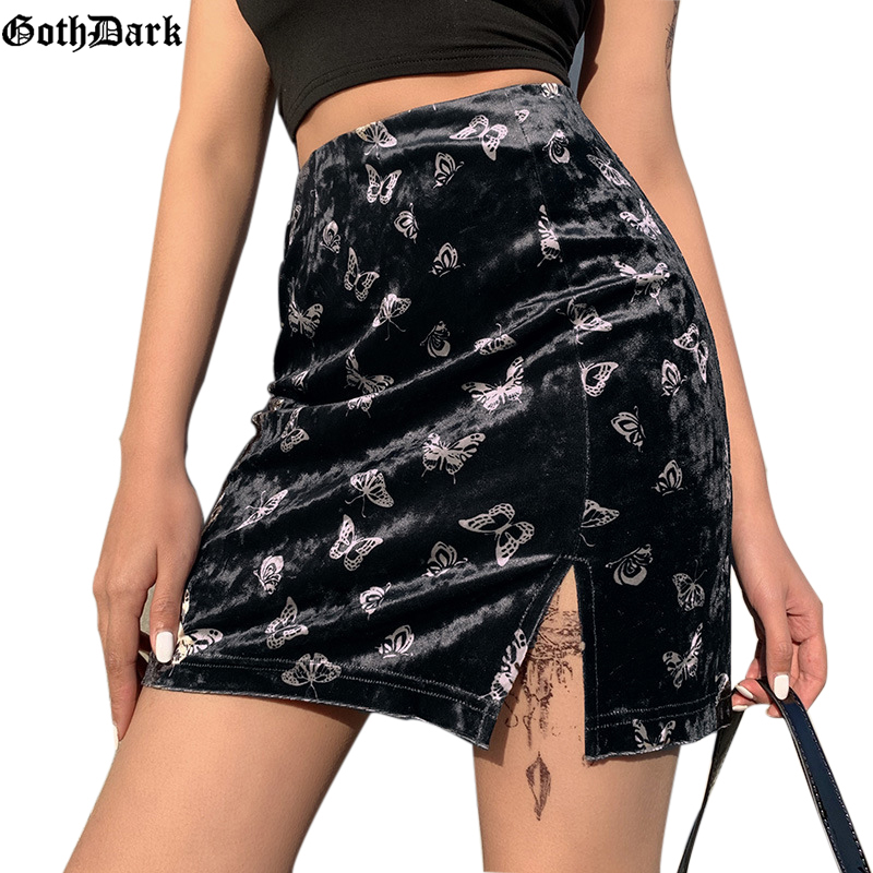 Goth Darkk Vintage Butterful Print Gothic Skirts Harajuku Splice Grunge Punk Autumn Winter 2019 Female Skirts Aesthetic Chic