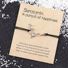 Молекула серотонина браслеты желаний 5-HT браслет с молекулами гормонов, браслет с молекулами, браслет для умственного здоровья, химический браслет, ювелирные изделия для медсестры
