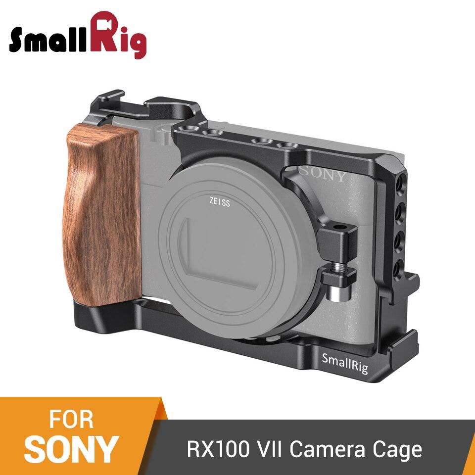 Jaula de cámara para Sony RX100 VII y RX100 VI con asa lateral de madera/Zapata fría RX100 VI Cage-2434