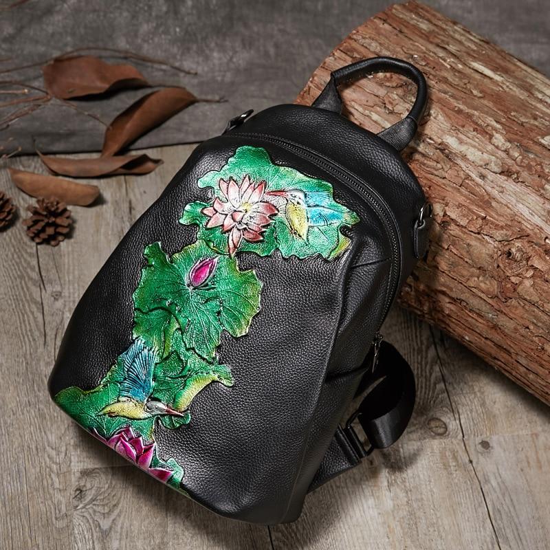 Image 3 - Johnature High Quality Genuine Leather Women Backpack 2020 New  Retro Handmade Embossing Cowhide Leisure Travel Bag BackpackBackpacks