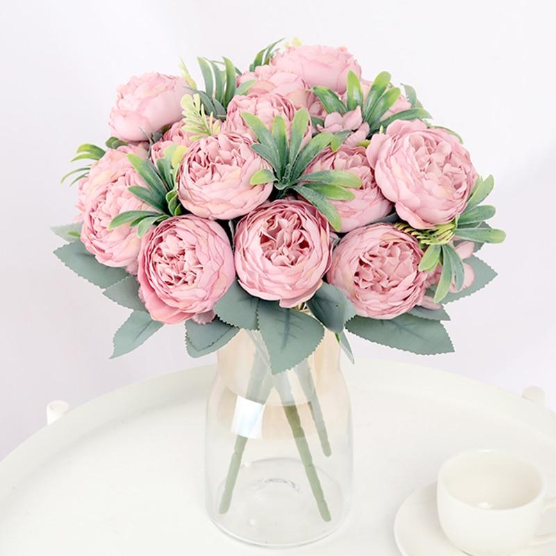30cm Rose Silk Peony Artificial Flower Pink DIY Home Living Room Garden Wedding Decoration Fake Flowers for Vase Cheap Bouquet