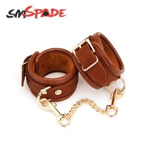 SMSPADE кожаные наручники БДСМ бондаж Фетиш рабство секс-игрушки для пар наручники комплект удерживающих устройств эротические игры для взрос...