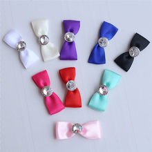 100piece/lot Mini Small Satin Bowknot With Diamonds Handmade DIY Brooch Wrist Flower Wedding Accessories Material 25D