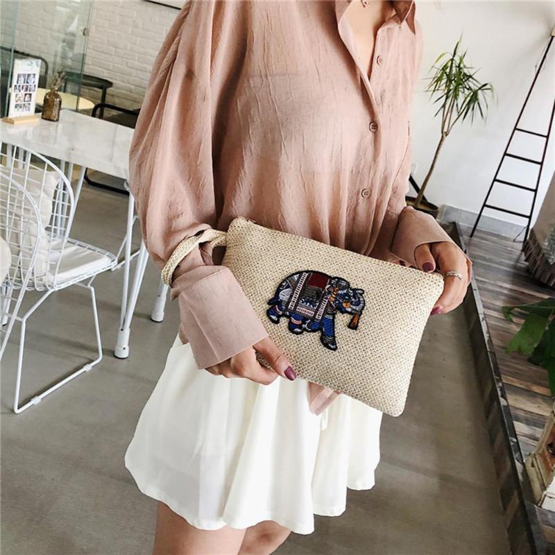 Portable Straw Wristlet Clutch Women Knitting Zipper Large Capacity Makeup Bags Splicing Woven Phone Money Handbags