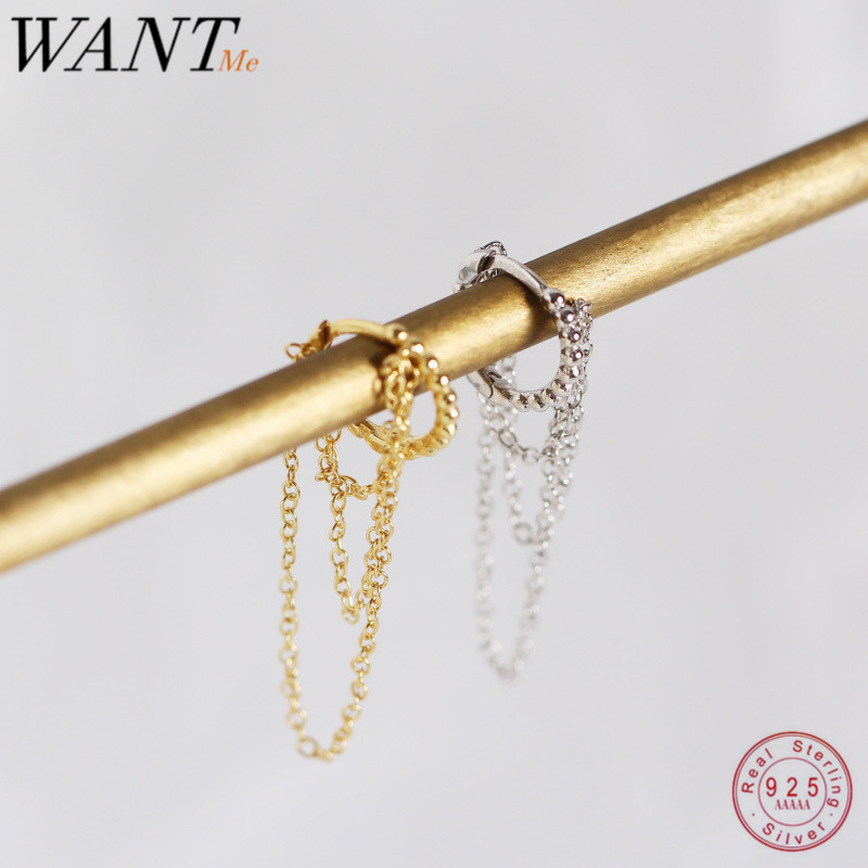 WANTME Hot Minimalist Multilayer Tassel Chain Studs Earrings for Women Real 100% 925 Sterling Silver Accessories Jewelry Gift