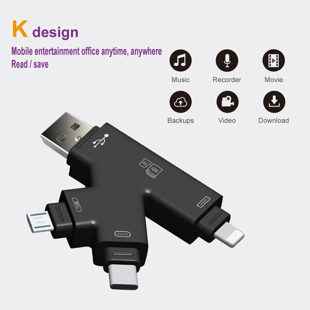 SD Card Reader MicroSD Adapter Microsd Cardreader SDHC SDXC TF Usb C OTG Memory Stick Duo RS MMC Adaptador For Iphone
