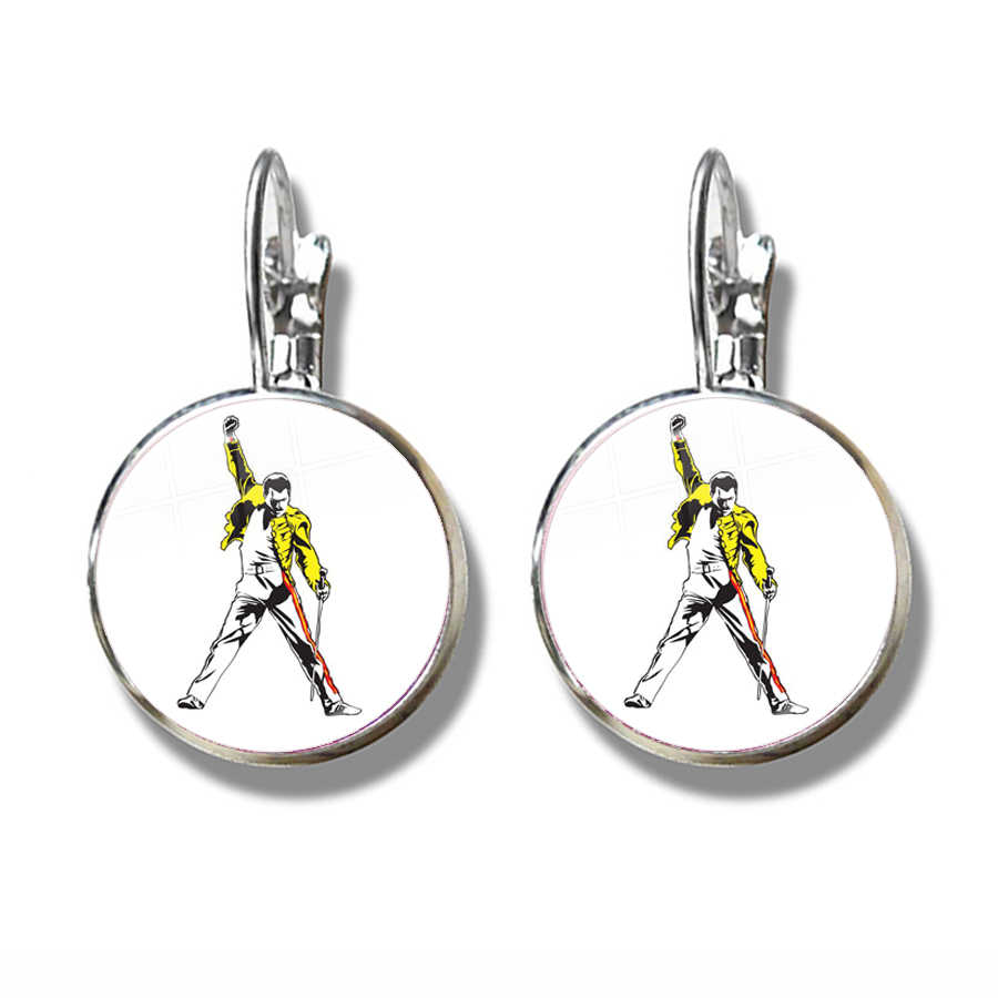 Glass Cabochon Freddie Mercury French Hook Earrings Cute Jewelry For Women Girls Silver Plated Earring For Gift