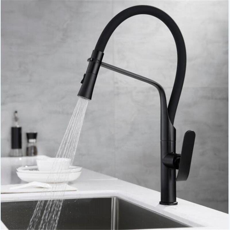 Kitchen Faucets Chrome/Black Pull Out Kitchen Faucet Tap Single Hole Rotating Sink Faucet Water Mixer Tap Mixer Tap