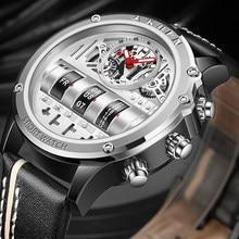 Unique Men Wrist Watches Leather Black Silver Creative Watches For Male Military Sports Clock Unique Design relogio masculino