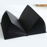 All Black Notepad Paper Blank Inner Page Notebook 96 Sheets 32k 128*186mm Album Starry Girl Style Sketchbook Stationery Gift