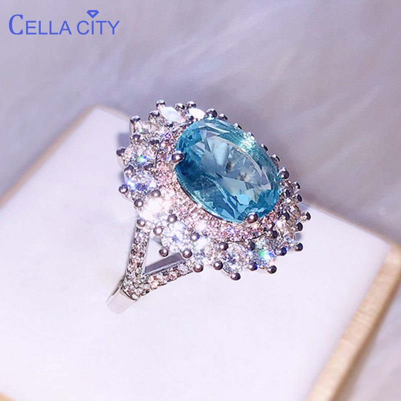 Cellacity Luxury  Silver 925 Women Ring Silver Fine Jewelry With Huge  Aquamarine  Gemstone Engagement Wedding Party Gift