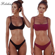 FXBIKINY 2019 Micro Bikini Set Solid Swimwear Brazilian Bikinis Thong Beach Wear Woman Swimsuit Bathing Suit Sport Biquini