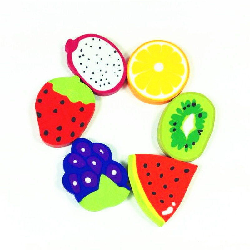 36pcs/lot Double Leaf Creative Kawaii Stationery Fruit Styling Rubber Novel School Supplies Six Design To Choose