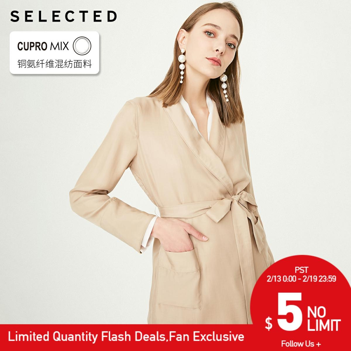 SELECTED Women's Draped V-neckline Cinched Waist Loose Fit Blazer S|419208507【Fan Get New Arrivals Coupons In The Description】