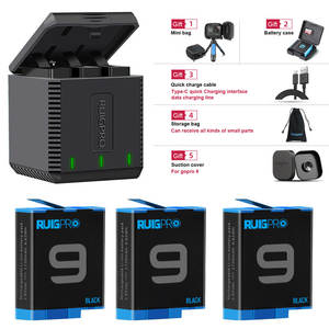 Camera-Accessories Battery Gopro Hero Go-Pro Li-Ion AHDBT-901 3-Slot-Charger/for Black