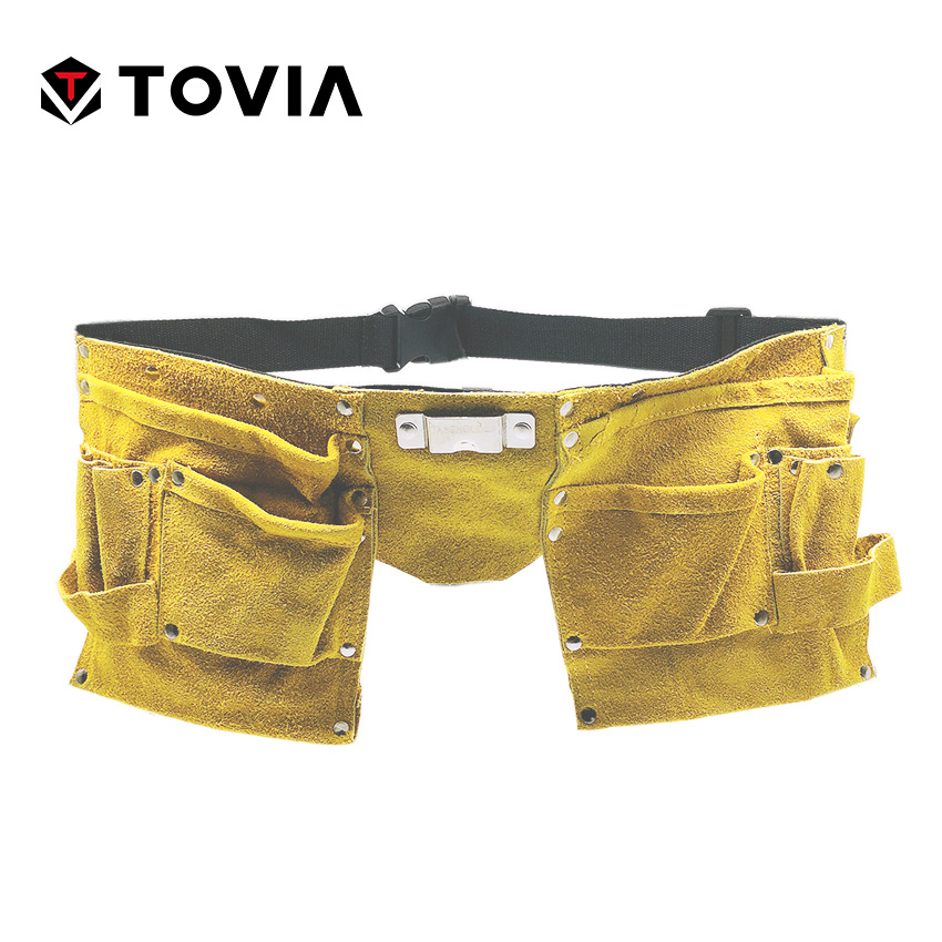 TOVIA 11 Pockets Leather Tool Pouch Belt Waist Tool Bag For Adults And Kids Combination Tools Storage Bag Tool Organizer
